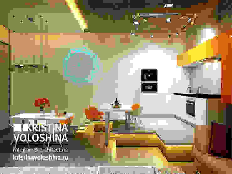 Квартира-студия в бионическом современном стиле. kristinavoloshina Кухня в стиле модерн