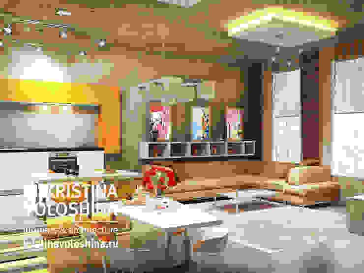 Квартира-студия в бионическом современном стиле. kristinavoloshina Гостиная в стиле модерн