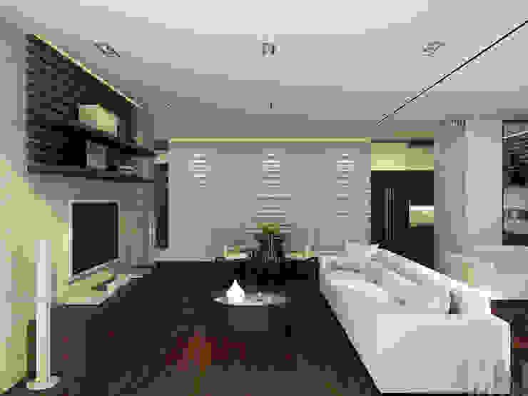 Квартира-трансформер Гостиная в стиле минимализм от ММ-design Минимализм