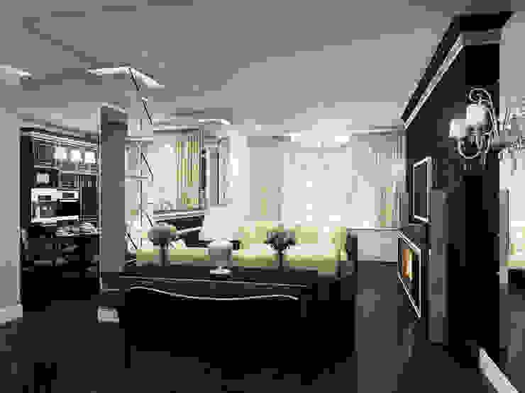 Фьюжн в черно-белом Гостиная в классическом стиле от ММ-design Классический