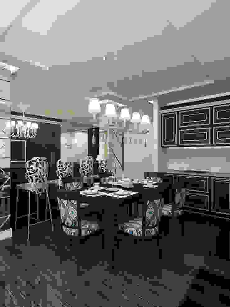 Фьюжн в черно-белом Столовая комната в классическом стиле от ММ-design Классический