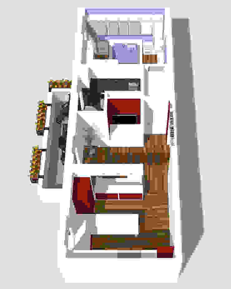 Vista aerea del progetto Case in stile minimalista di BRENSO Architecture & Design Minimalista