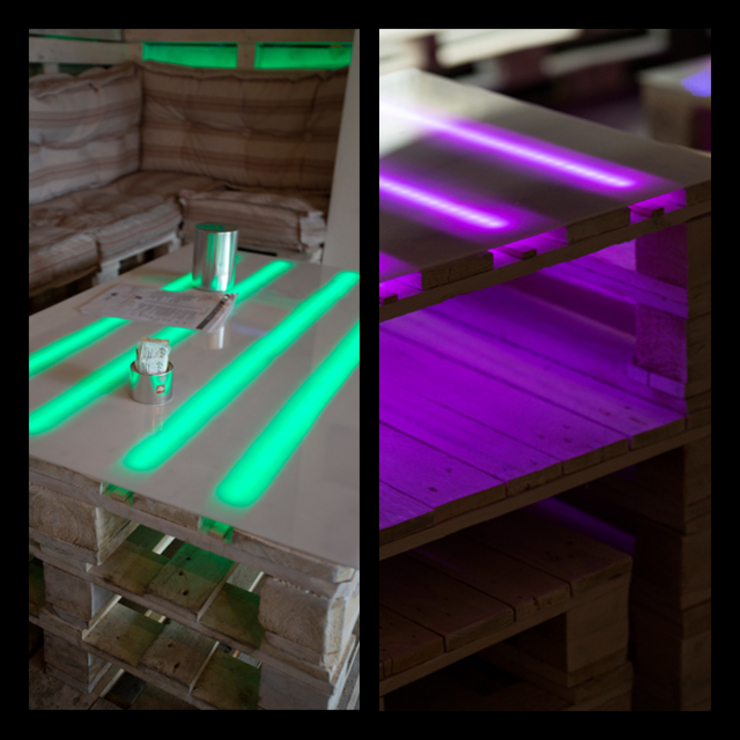 Led and pallets details Gastronomie originale par BRENSO Architecture & Design Éclectique