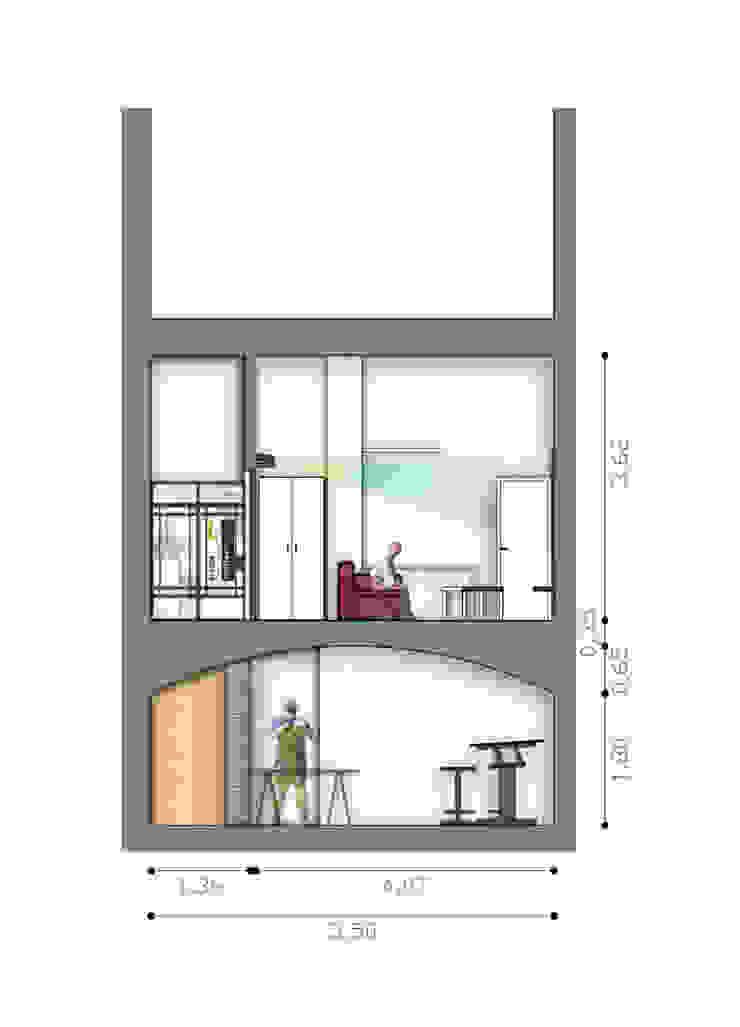 Sezione vano secondario di BRENSO Architecture & Design Moderno