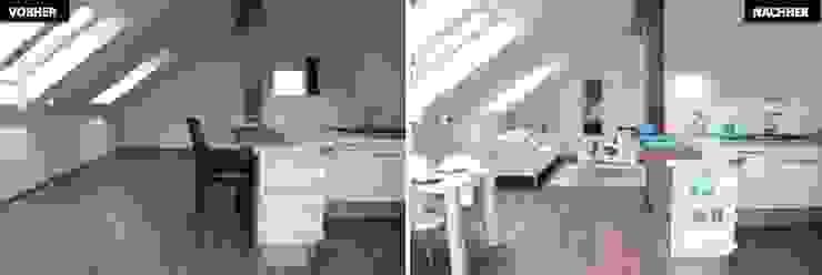 Wohn-Esszimmer mit Kücher Vergleich vorher/nachher Moderne Esszimmer von raumwerte Home Staging Modern