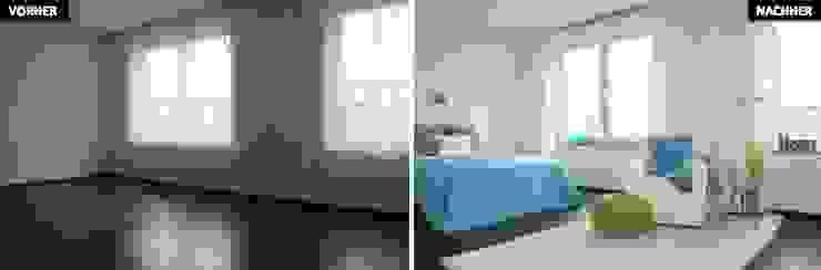 Schlaf-/Ankleidezimmer Vergleich vorher/nachher Moderne Schlafzimmer von raumwerte Home Staging Modern