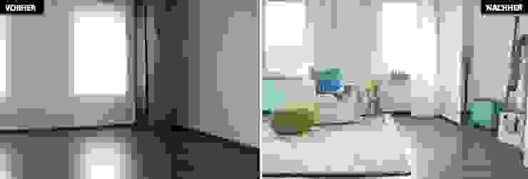 Schlaf-/Ankleidezimmer Vergleich vorher/nachher Moderne Wohnzimmer von raumwerte Home Staging Modern