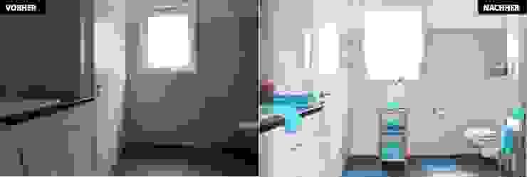 Badezimmer Vergleich vorher/nachher: modern  von raumwerte Home Staging,Modern