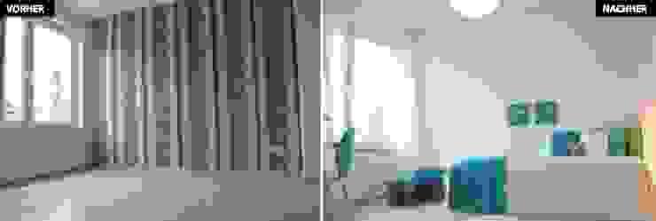 Kinder-/Gästezimmer Vergleich vorher/nachher Moderne Wohnzimmer von raumwerte Home Staging Modern