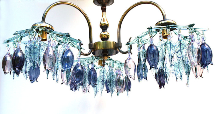 Glass chandelier with flowers and leaves - aqua and purple: modern  by A Flame with Desire, Modern