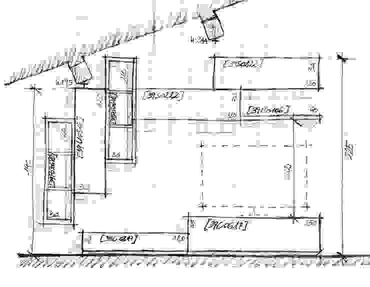 Lo schizzo su foglio a quadretti dal quale è nato il mobile soggiorno di ARREDACASAOnLine Moderno