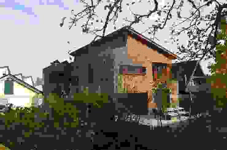 gartenansicht im Herbst Ausgefallene Häuser von arché techné néos Ausgefallen