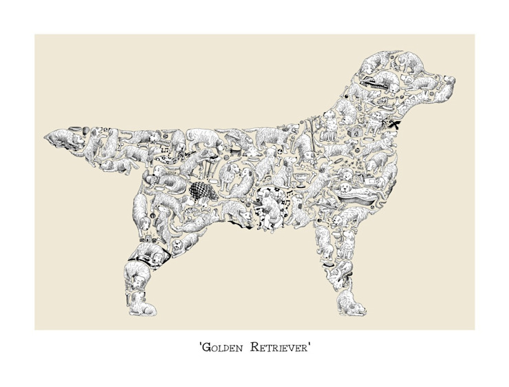 Louise Tate Golden Retriever Print: country  by Anthea's Home Store, Country