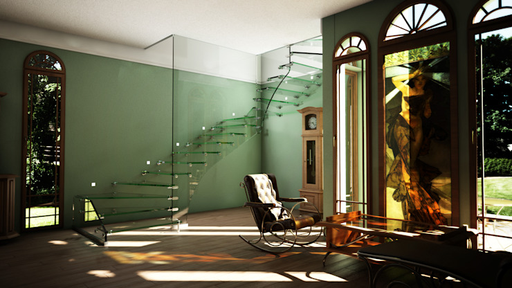 All glass stairs with artistic glass railing Siller Treppen/Stairs/Scale Escaleras Vidrio Negro