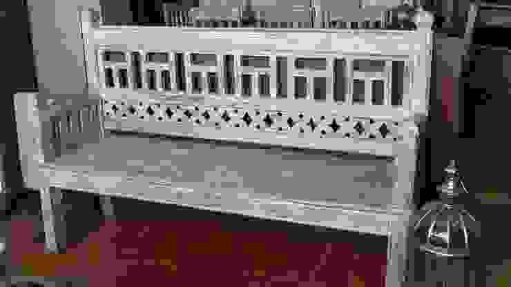 Banco de mdera de teca decapada de Salablanca furniture and Decoration