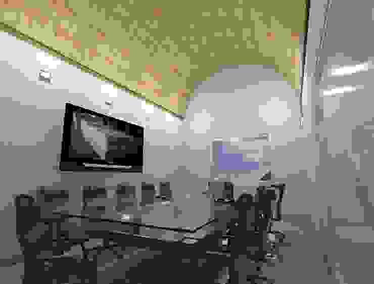 diseño 3D de la sala de juntas con Bóveda de cañón corrido Edificios de oficinas de estilo moderno de CESAR MONCADA SALAZAR (L2M ARQUITECTOS S DE RL DE CV) Moderno