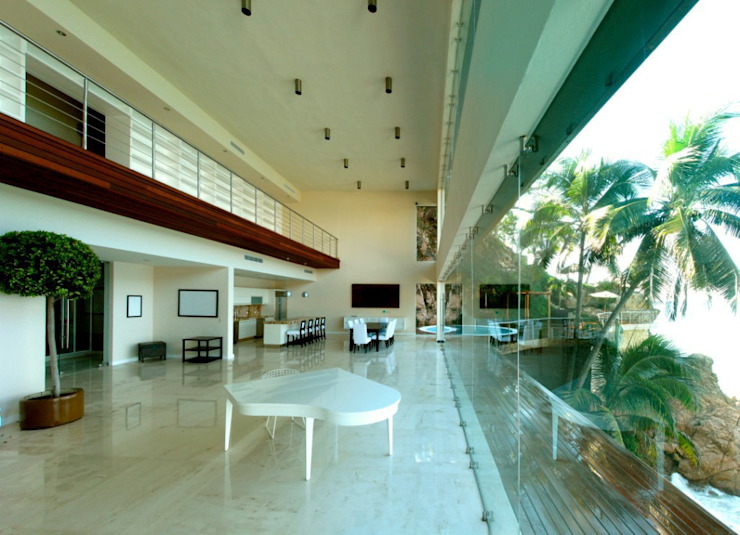 arqflores / architect 現代風玄關、走廊與階梯