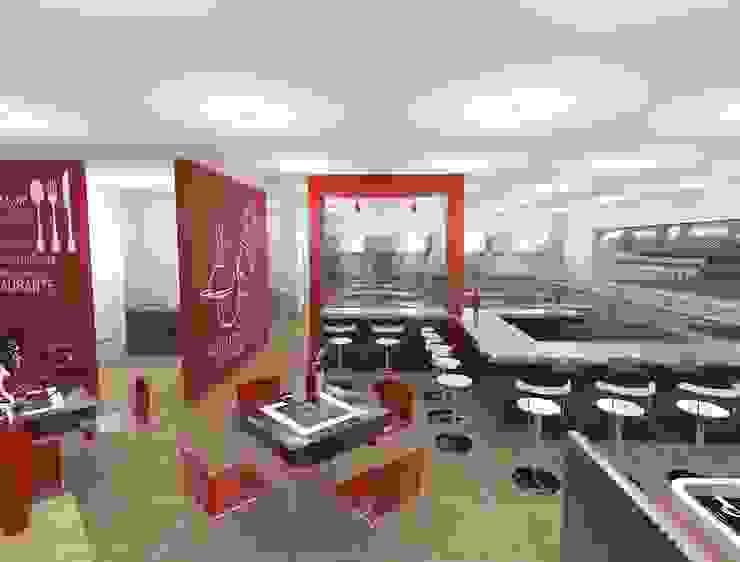 Diseño 3D Gastronomía de estilo moderno de CESAR MONCADA SALAZAR (L2M ARQUITECTOS S DE RL DE CV) Moderno