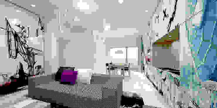 XX HOUSE Soggiorno minimalista di MDMA Minimalista