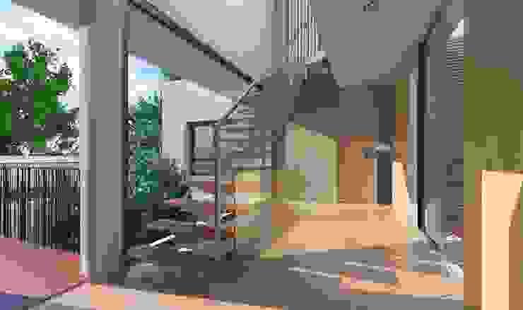 ห้องโถงทางเดินและบันไดสมัยใหม่ โดย NUÑO ARQUITECTURA โมเดิร์น ไม้ Wood effect