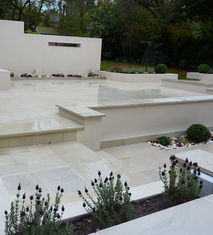 Buff, Sawn Sandstone terrace Modern garden by Gardenplan Design Modern