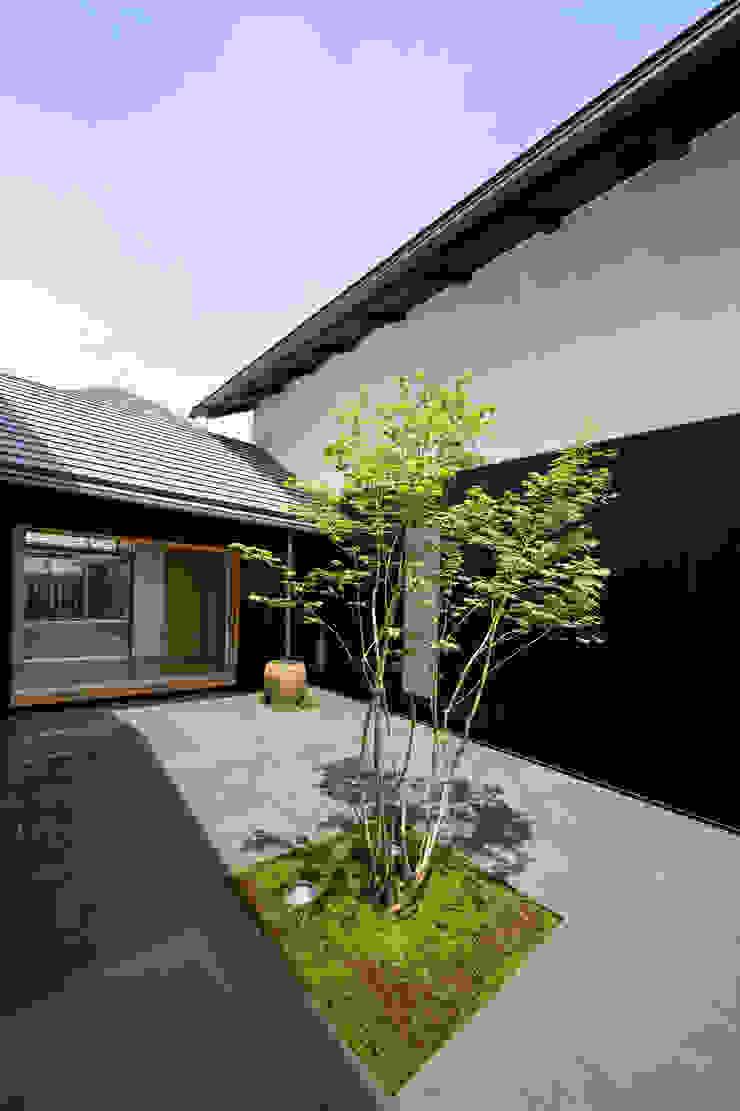 2世帯間の緩衝体となる中庭 モダンな庭 の 株式会社古田建築設計事務所 モダン