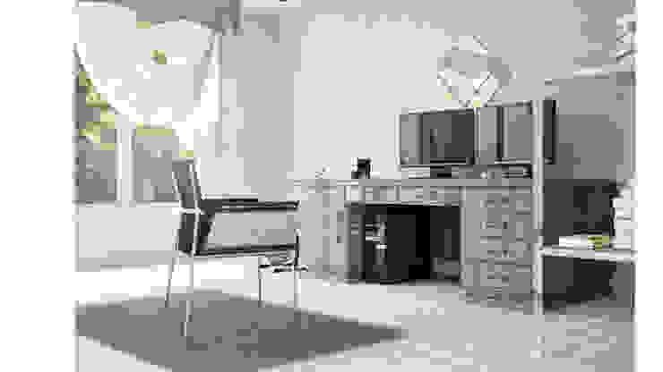 View_02_Desk Camera da letto minimalista di V Multimedia Minimalista