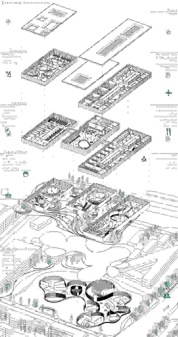 Exploded axonometric Musées originaux par NAS Architecture Éclectique