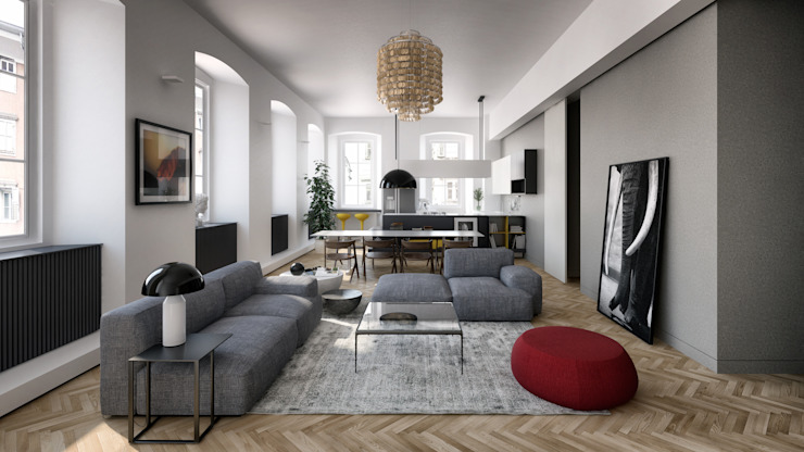 N-House: Zona Giorno Case in stile minimalista di RNDR Studio Minimalista