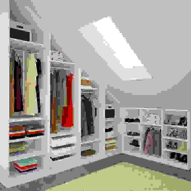 Begehbarer Kleiderschrank unter Schräge Moderne Ankleidezimmer von meine möbelmanufaktur GmbH Modern