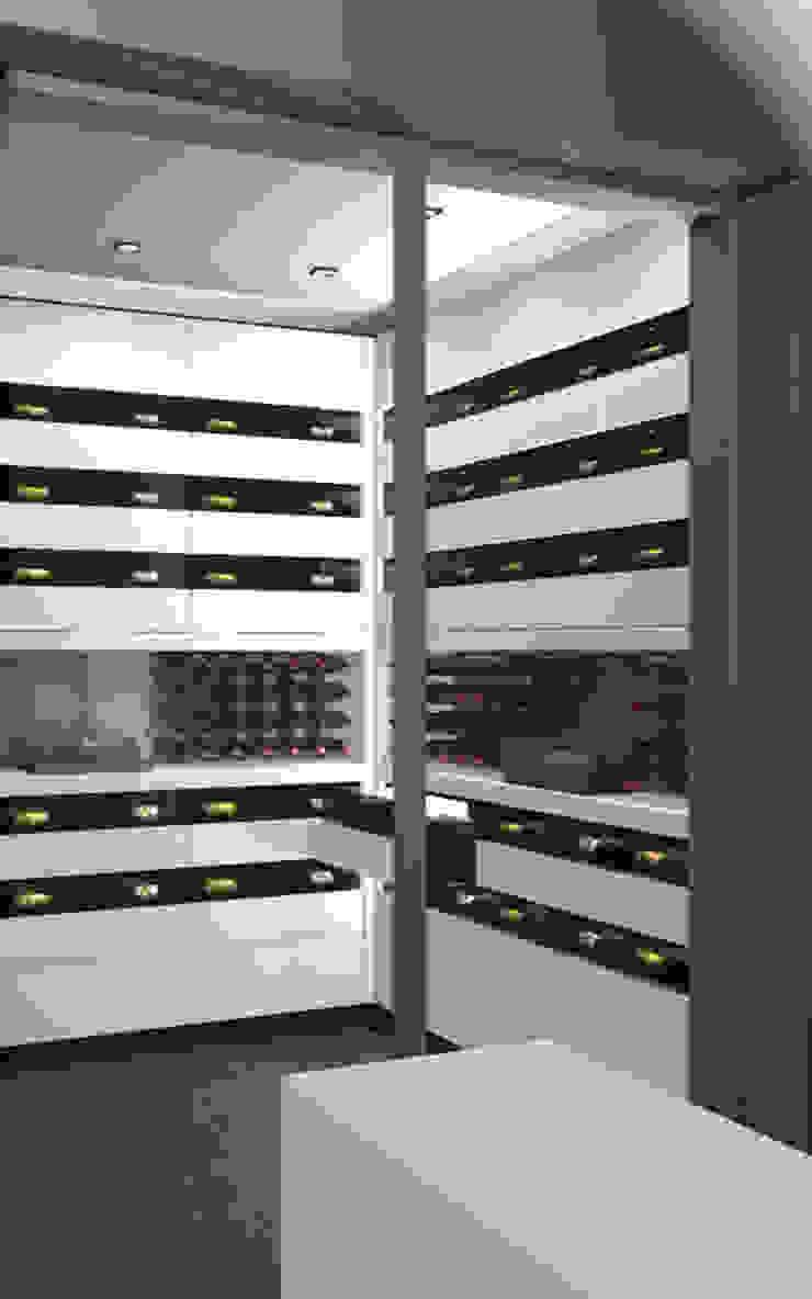 Projet 3D – Cave à vin en Corian Blanc Iceberg par Degré 12 Moderne