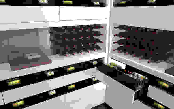 Projet 3D - Cave à vin en Corian Blanc Iceberg par Degré 12 Moderne