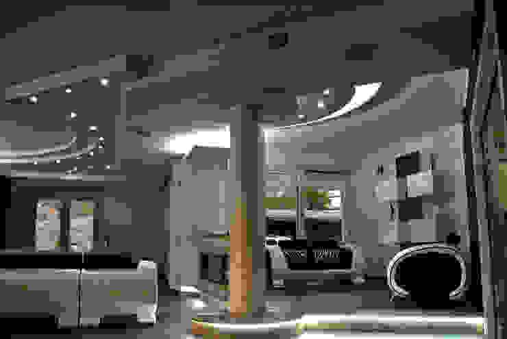 Vista d'insieme della zona salotto Soggiorno moderno di GIOIA Biagio ARCHITETTO Moderno