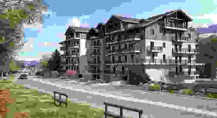 perspectiva 3D edificio de viviendas Casas de estilo clásico de Realistic-design Clásico