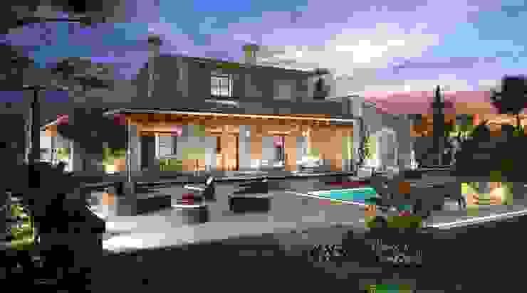 Perspectiva 3D - Casa rustica Casas de estilo rústico de Realistic-design Rústico