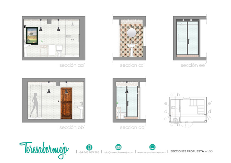 secciones propuesta de Diseñadora de Interiores, Decoradora y Home Stager Rústico