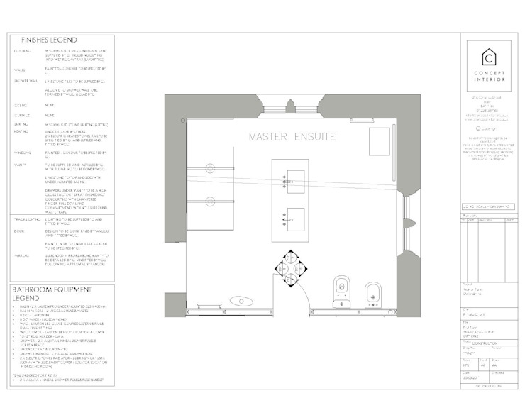 Bathroom floor plan: classic  by Concept Interior Design & Decoration Ltd, Classic