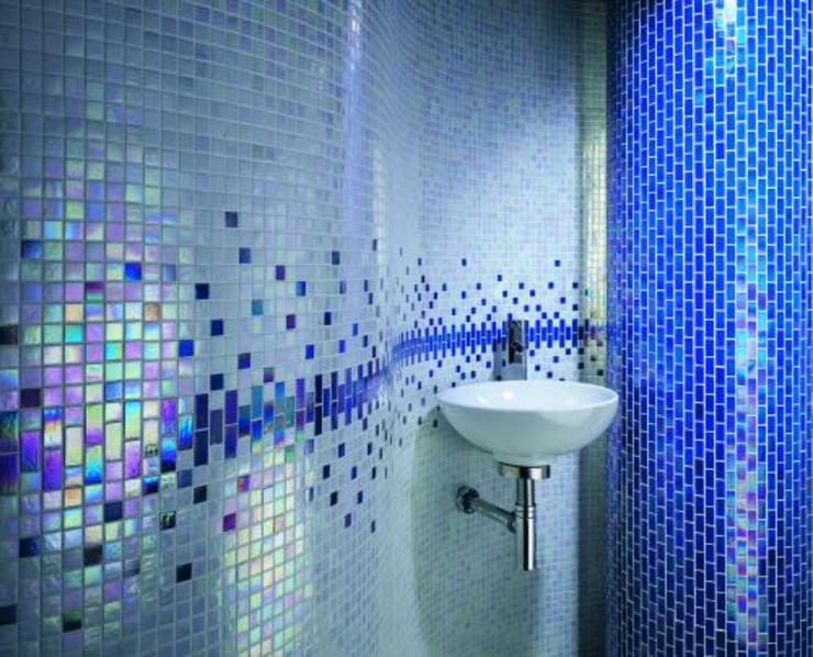 Blue Sparkle Betaş Cam Mozaik Ltd.Şti. Mediterranean style bathrooms