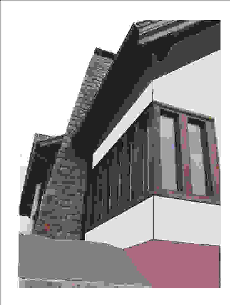 Detal elewacji w trakcie budowy od Heliolux Design Rustykalny
