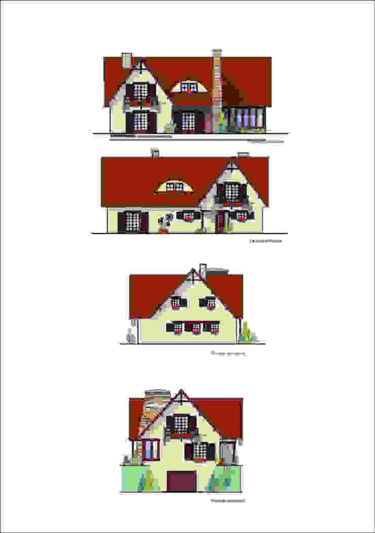 Projekt elewacji od Heliolux Design Rustykalny