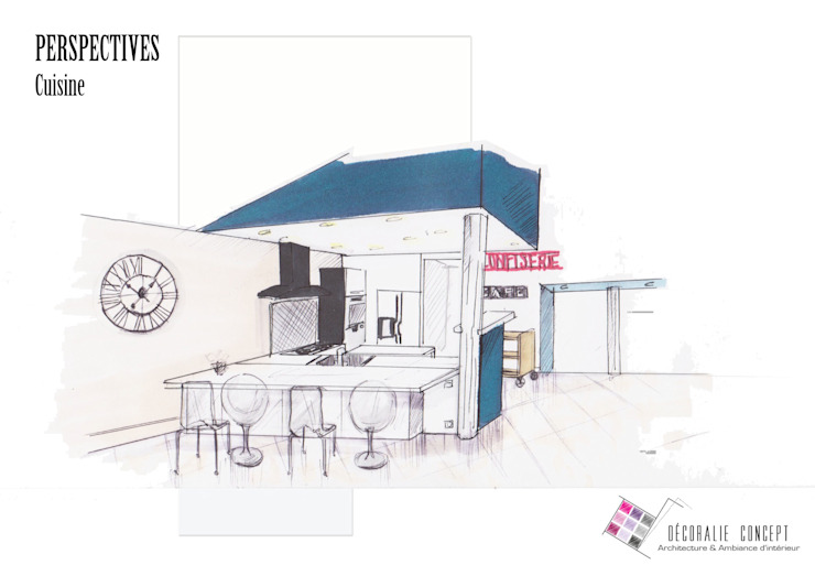 Cuisine améliorée Salon moderne par Décoralie Concept Moderne