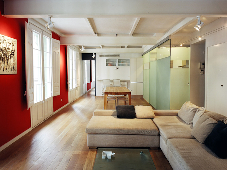 Apartamento Lb. Zaragoza Salones de estilo moderno de MAGEN ARQUITECTOS Moderno