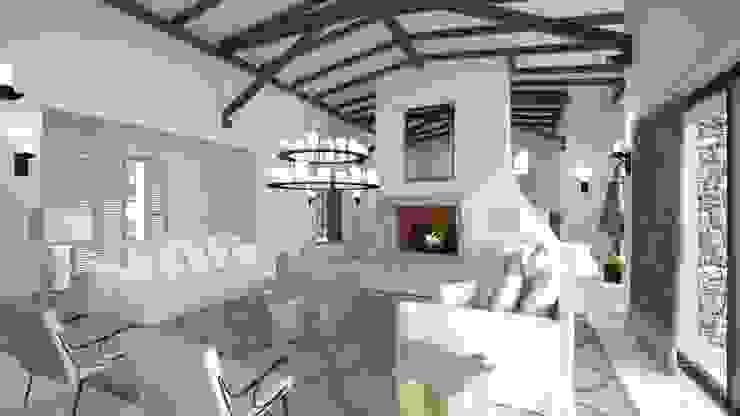 Proyecto 3D Salones rústicos de estilo rústico de Realistic-design Rústico
