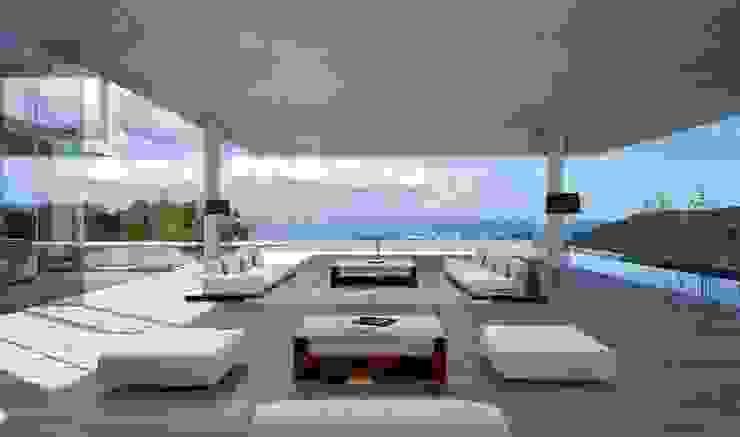 Proyecto 3D Salón con vistas al mar Salones de estilo moderno de Realistic-design Moderno