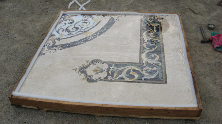 marble inlay floor medallion: classic  by Crafts Indica,Classic