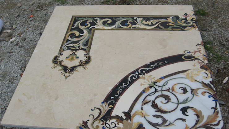 Marble and Semiprecious Stone Floor Inlay: classic  by Crafts Indica,Classic