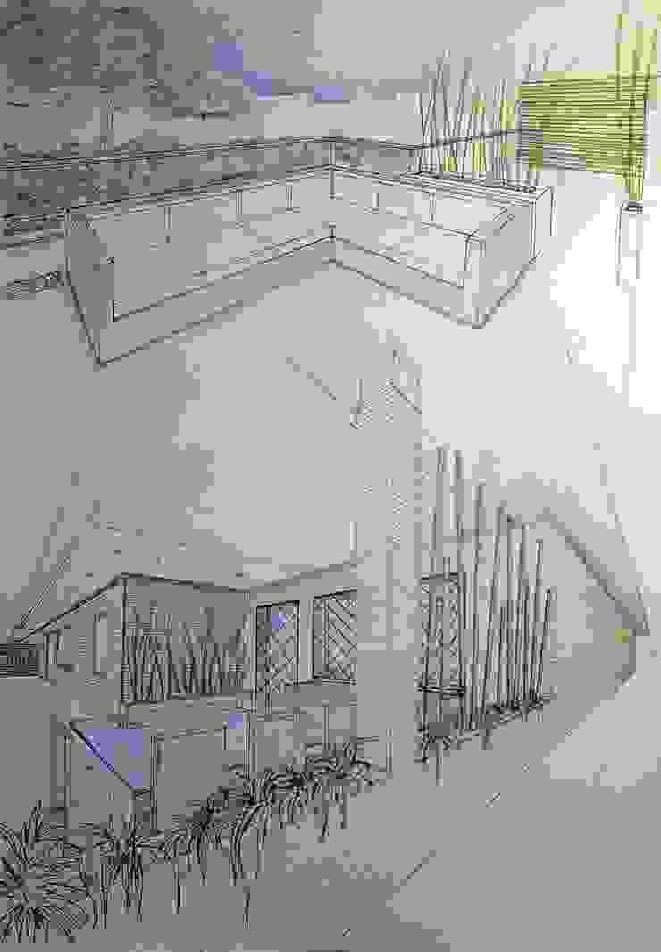 prospettiva a mano Balcone, Veranda & Terrazza in stile moderno di Fabio Valente Studio di architettura e urbanistica Moderno