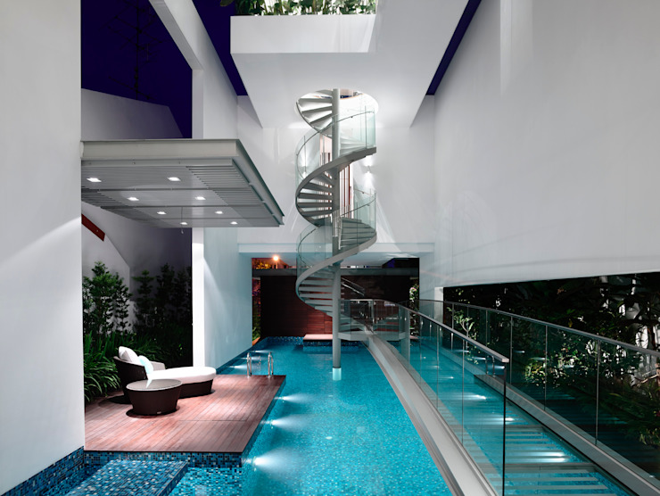 Bridge Over Water Modern pool by HYLA Architects Modern