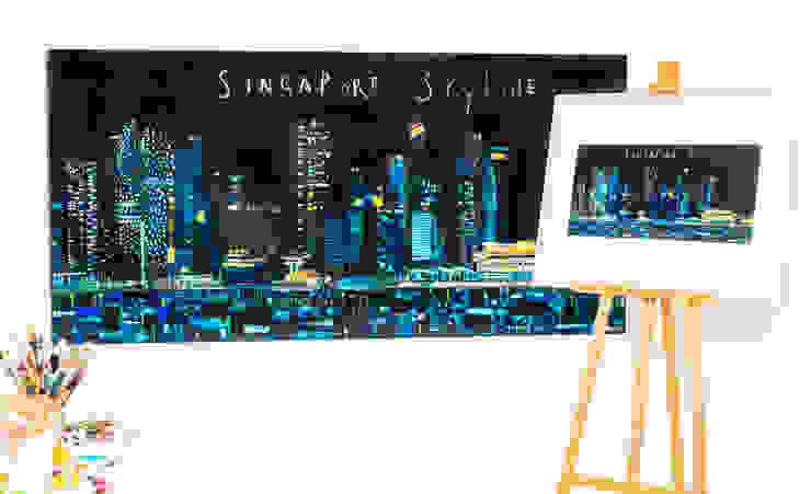 Singapore Skyline: modern  by Clare Haxby Art Studio,Modern