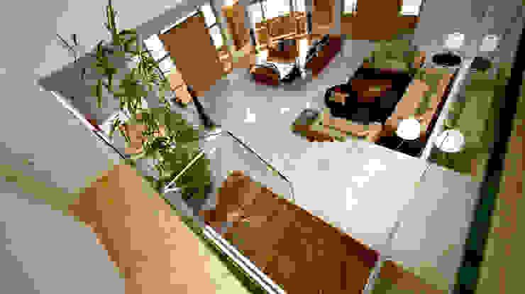 Villa Joà_Living ed accesso alla suite del mezzanino di Emanuele Pillon Architetto Moderno